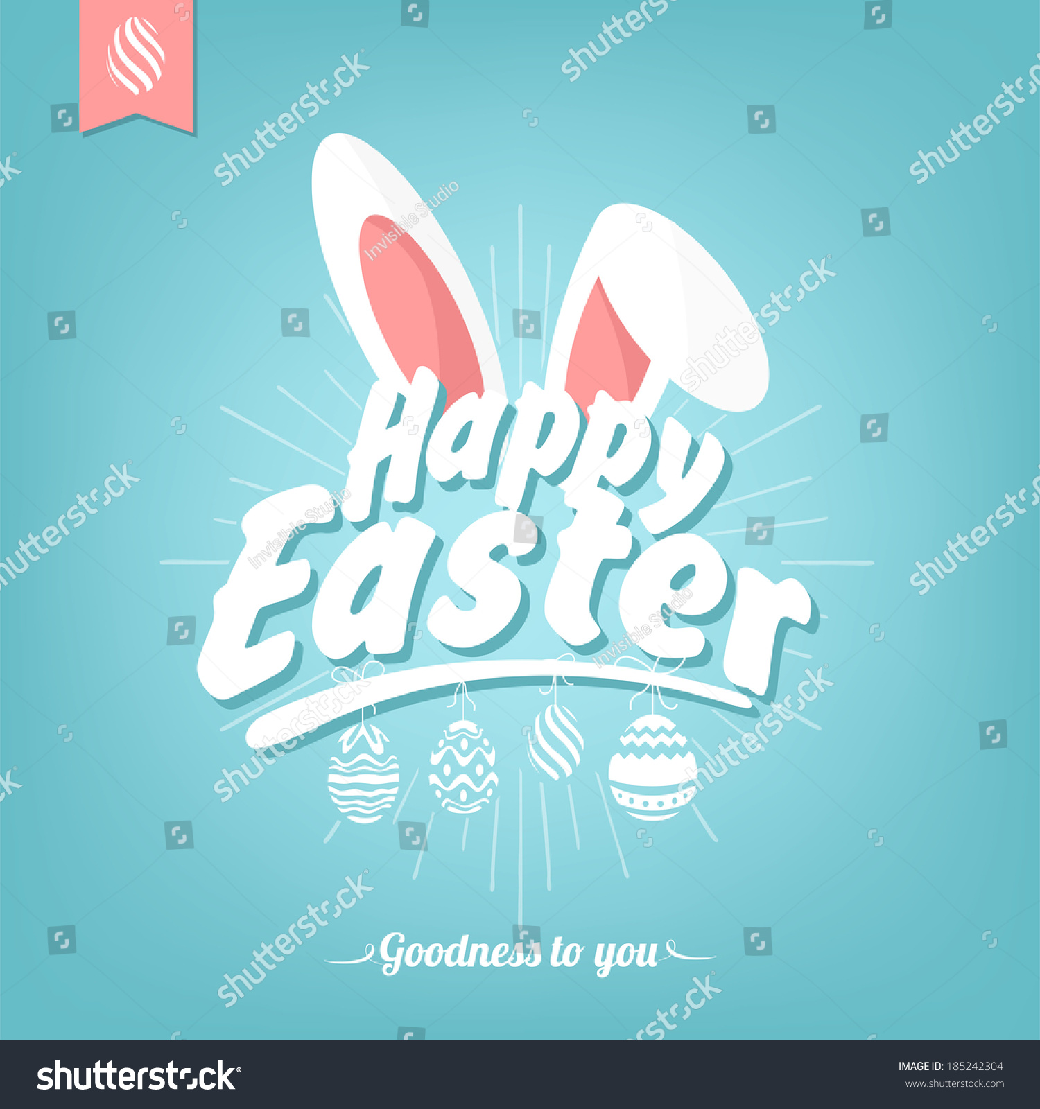 Happy Easter Typographical Background Bunny Stock Vector ...