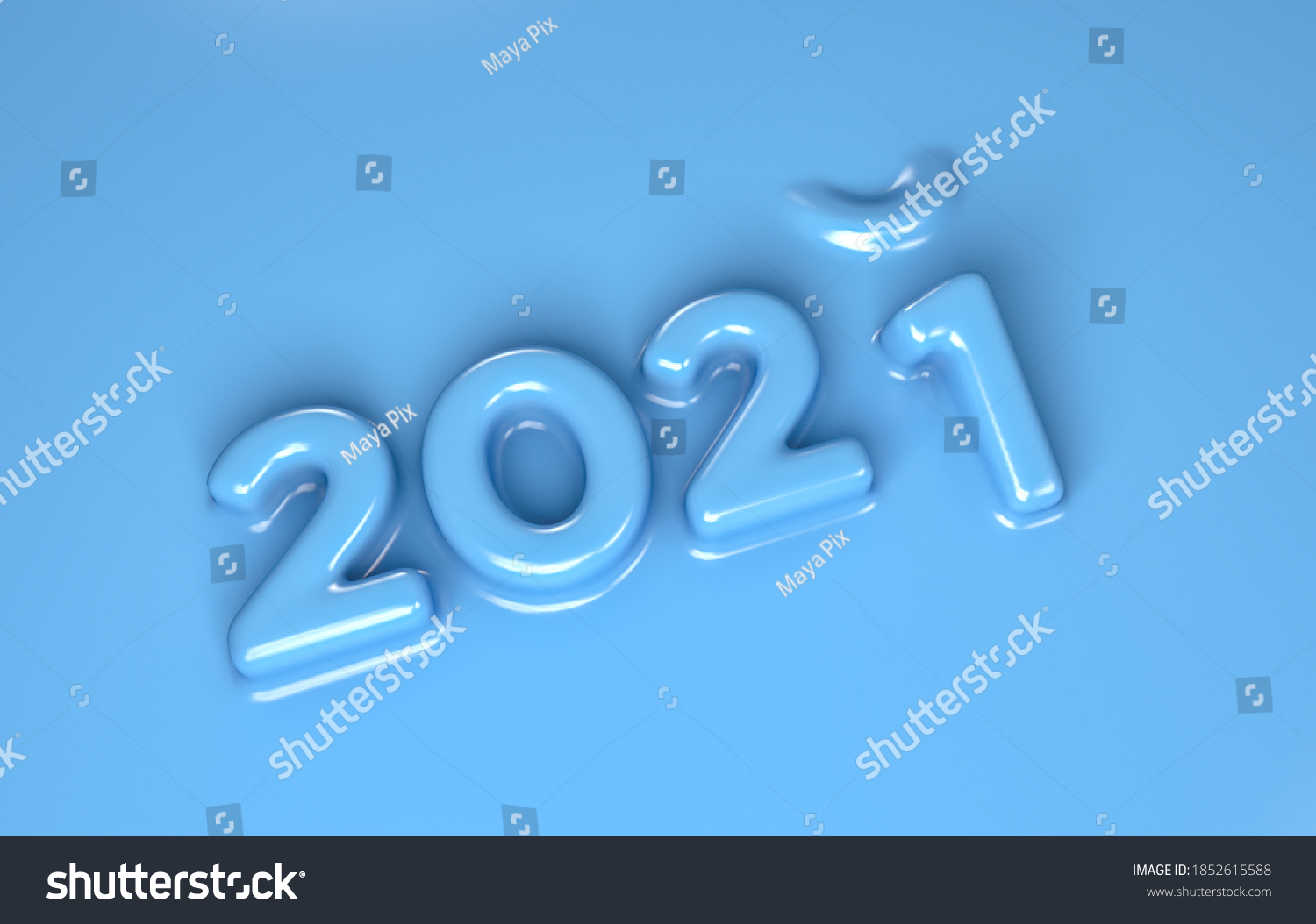 3D Render of 2020 turning to 2021 in blue molded plastic material