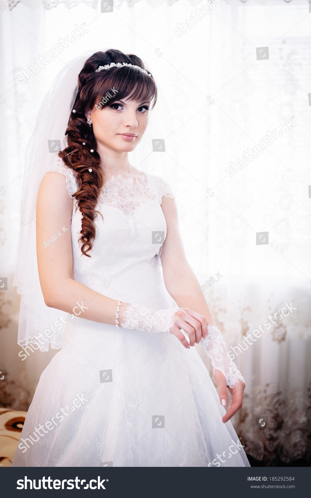 Beautiful Bride White Wedding Dress Hairstyle Stock Photo (Royalty ...