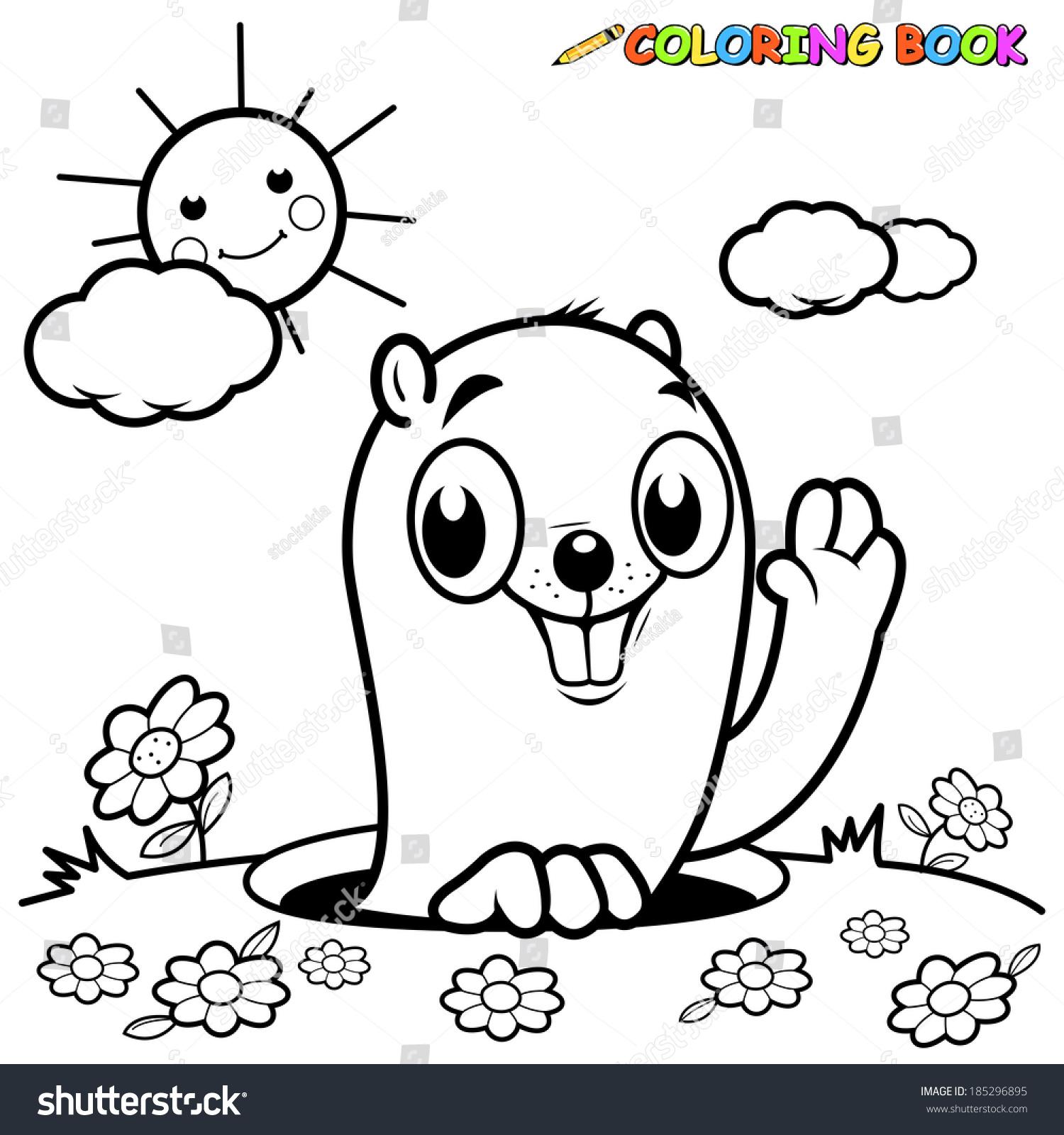 black white outline image groundhog peeking stock vector 185296895