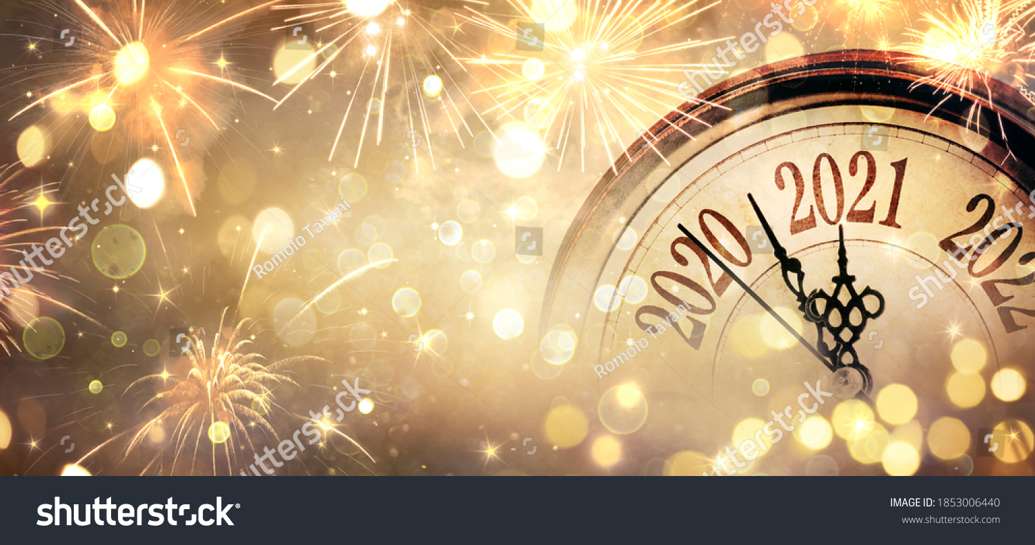 Countdown To Midnight - Happy New Year 2021 - Abstract Defocused Background - Clock And Fireworks  #1853006440