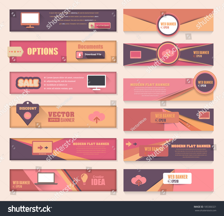 Vector Flat Modern Web Banner Template Stock Vector 185306321 ...