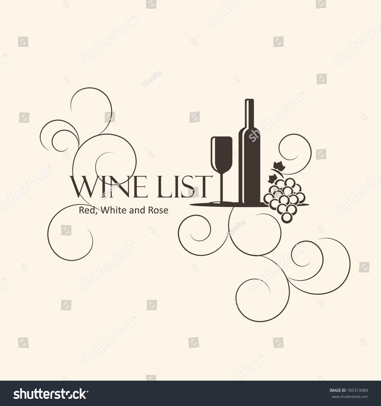 wine list design template stock vector 185313089 shutterstock. Black Bedroom Furniture Sets. Home Design Ideas