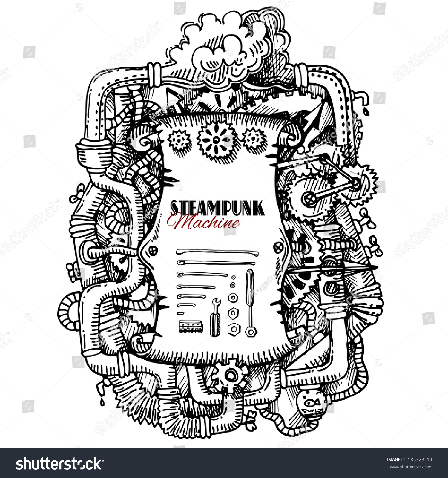 Steampunk Frame Stock Vector (Royalty Free) 185323214 - Shutterstock