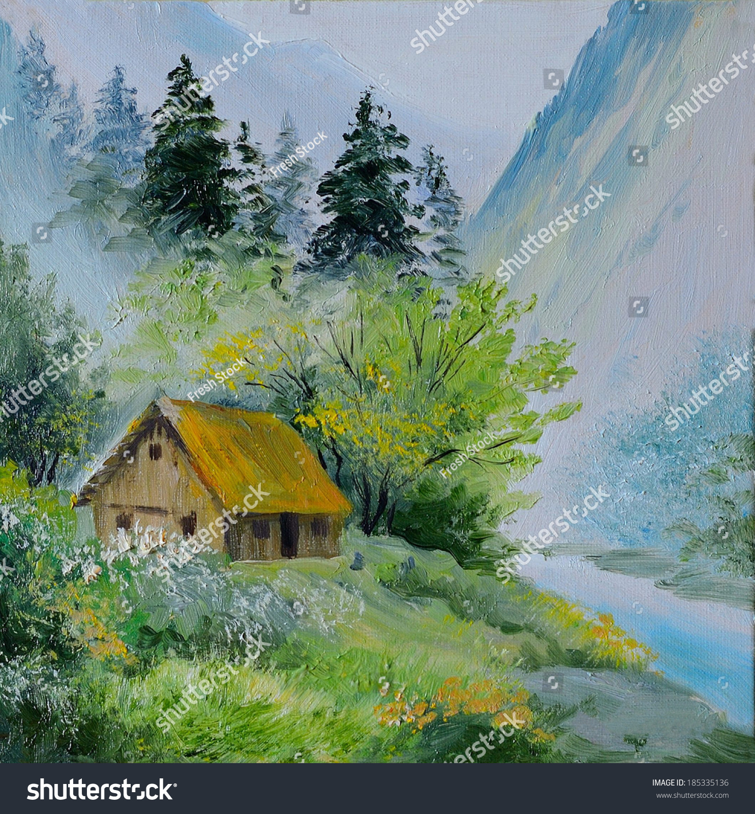 Oil painting landscape mountains house mountains stock - House in the mountains ...