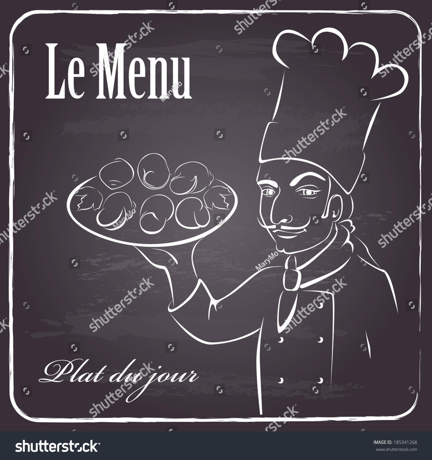 menu background restaurant on chalkboardfrench chef stock vector