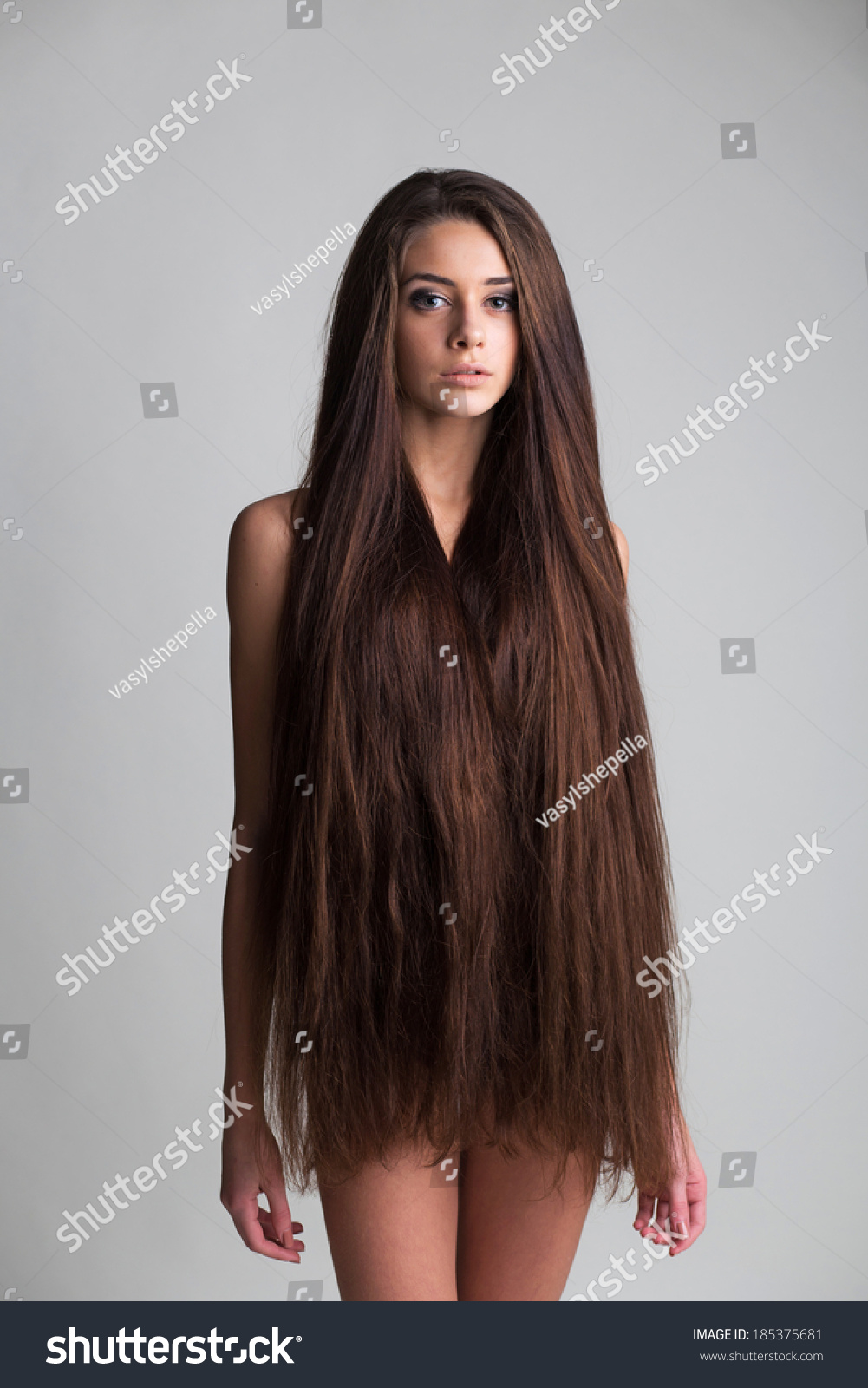 portrait naked young woman long hair stock photo (royalty free
