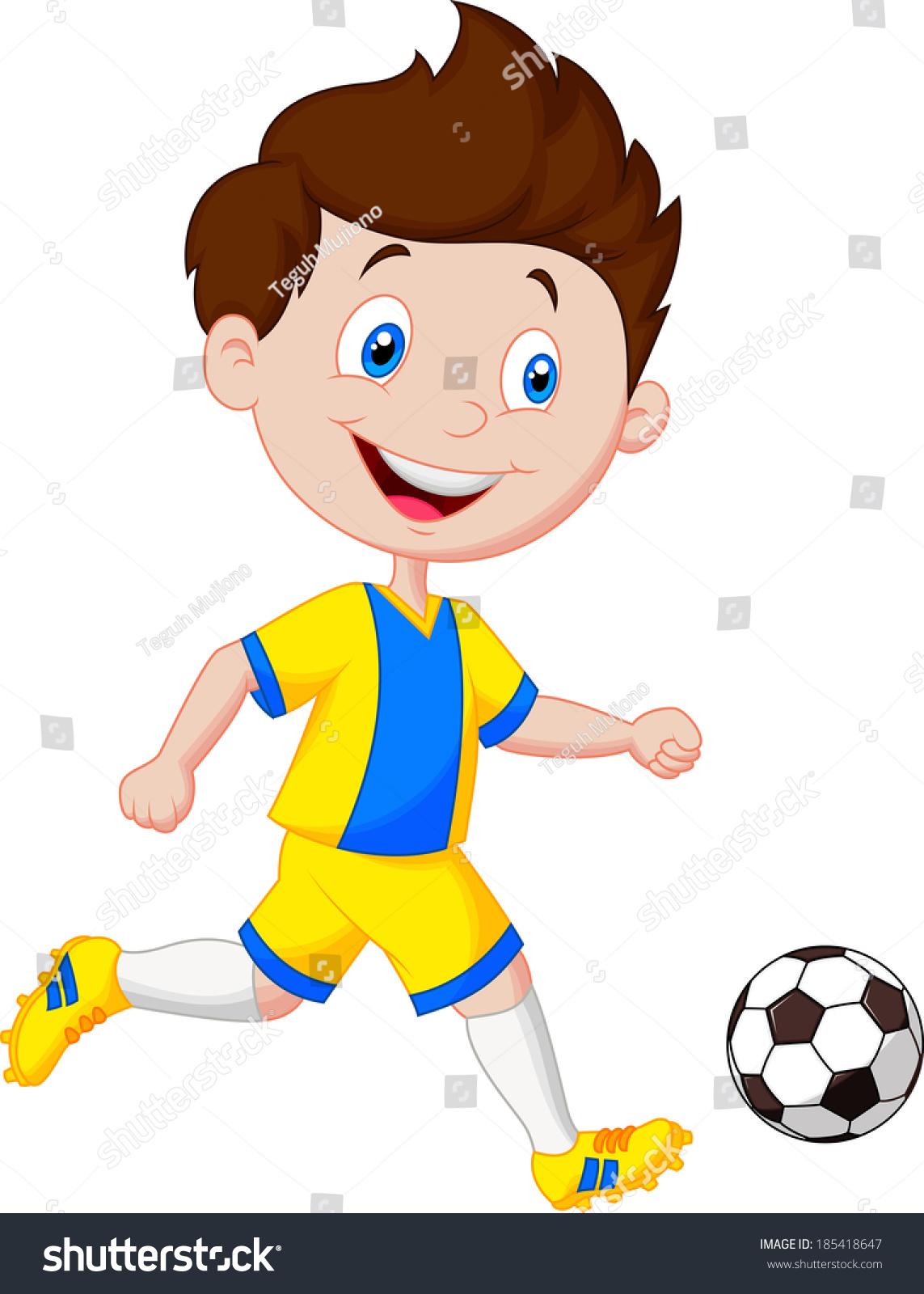 Cartoon Boy Playing Football Stock Vector 185418647 - Shutterstock