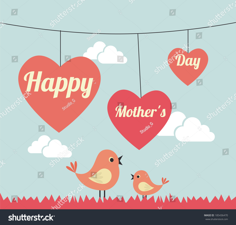 mothers day design over landscape background stock vector