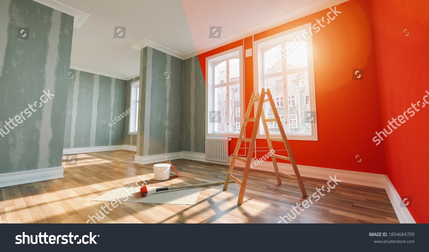 Painting wall red in room before and after restoration or refurbishment #1854684709