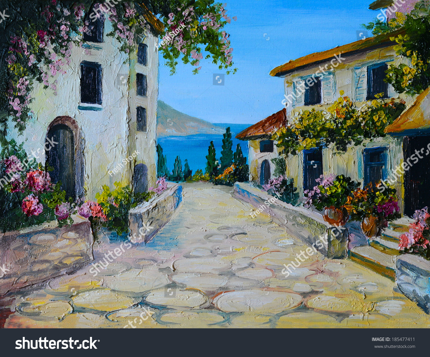 oil painting on canvas beautiful houses stock illustration