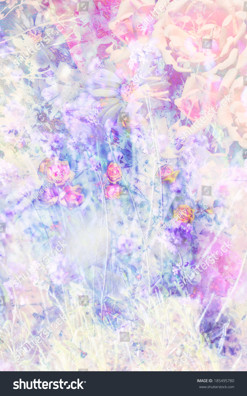 Pretty Summer Flowers Artistic Background Pink Stock Illustration