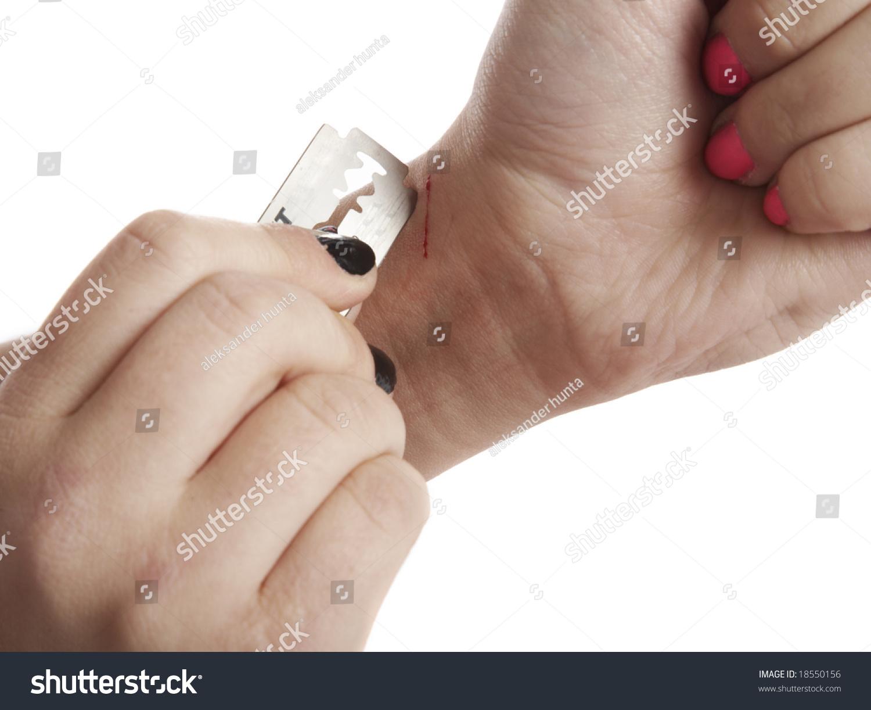girl cuts veins on hand stock photo edit now 18550156 shutterstock