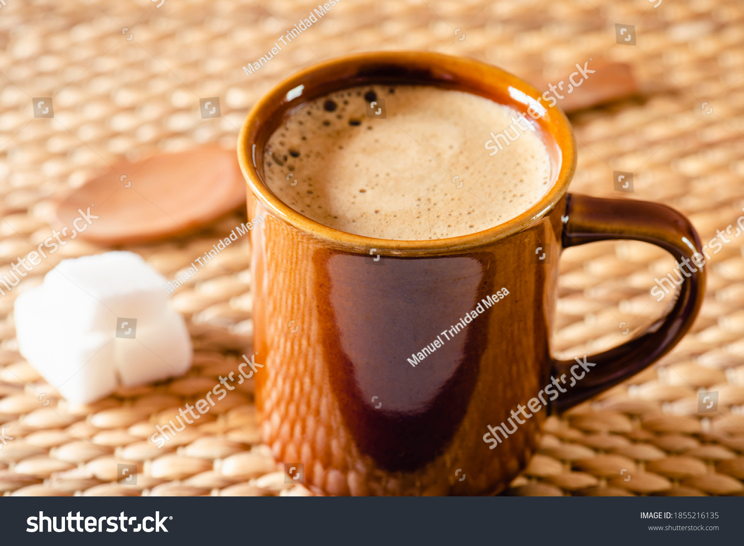 stock-photo-clay-cup-with-hot-coffee-on-