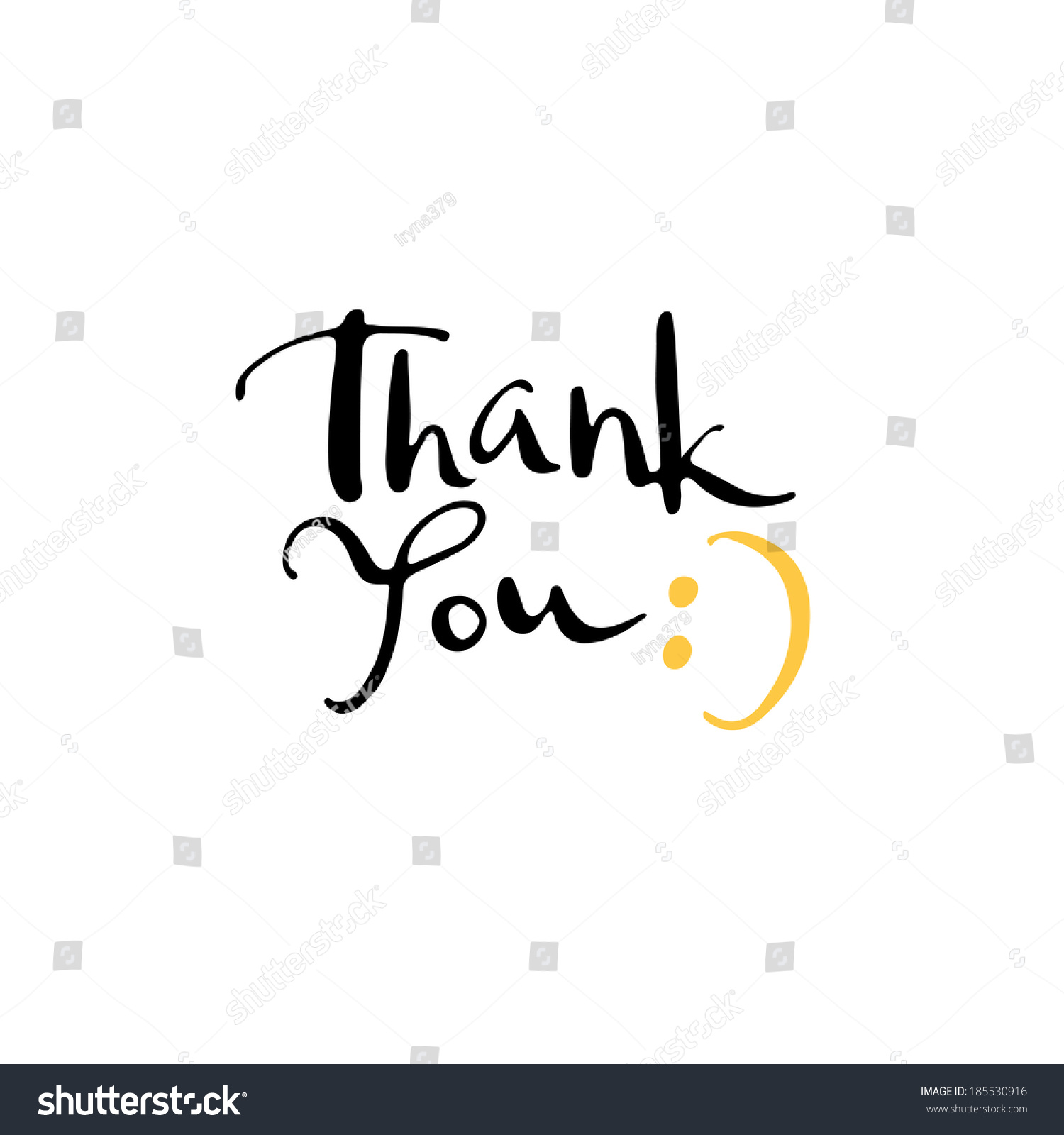 Calligraphy Thank You Stock Vector Illustration