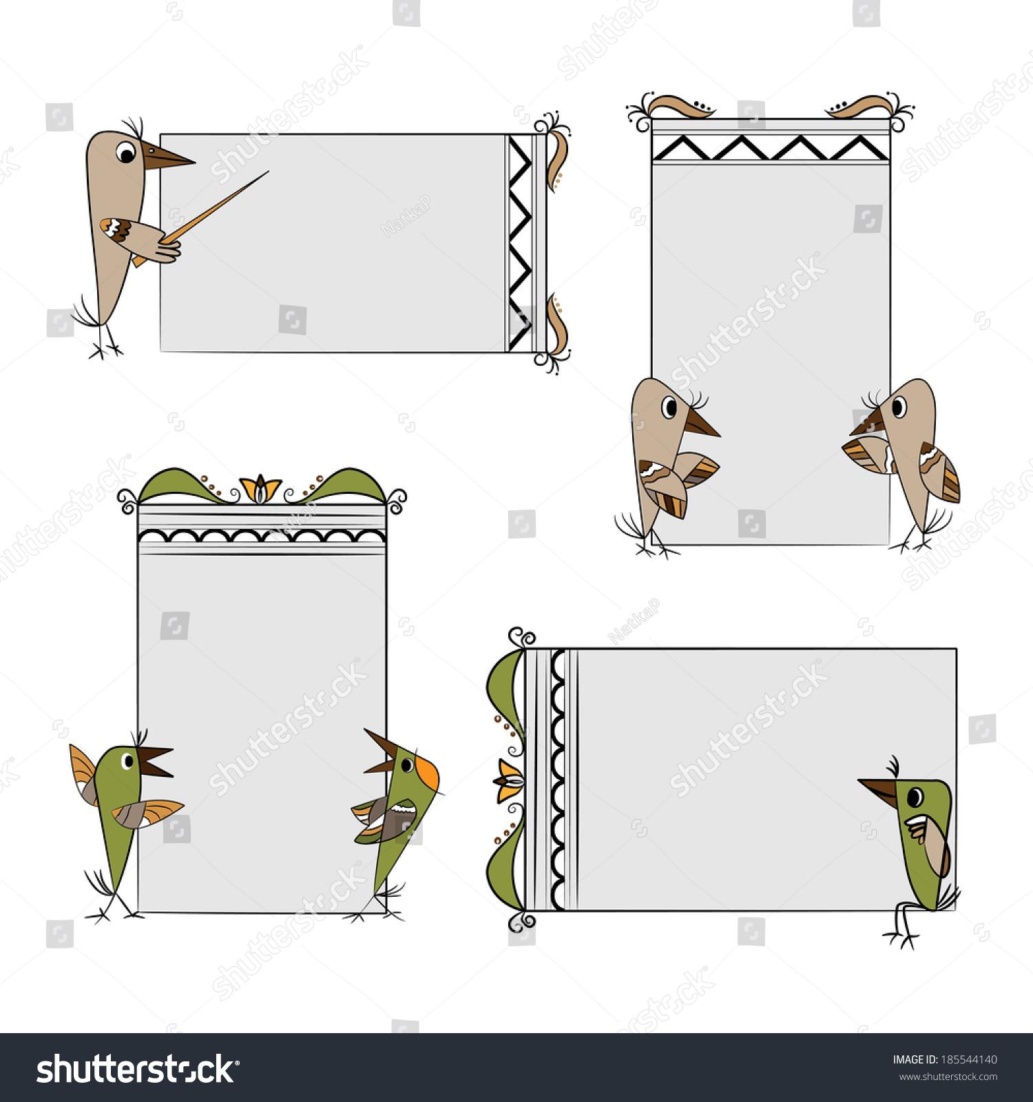 Birds Frames Set Stock Illustration - Royalty Free Stock ...