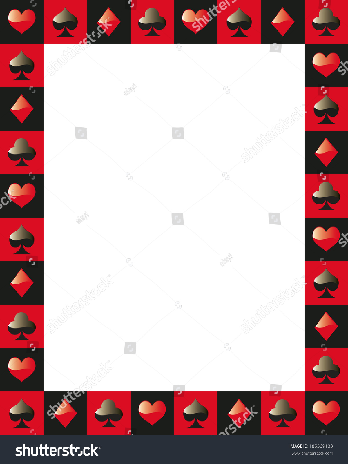 Poker Border Frame Game Card Red And Black Stock Vector
