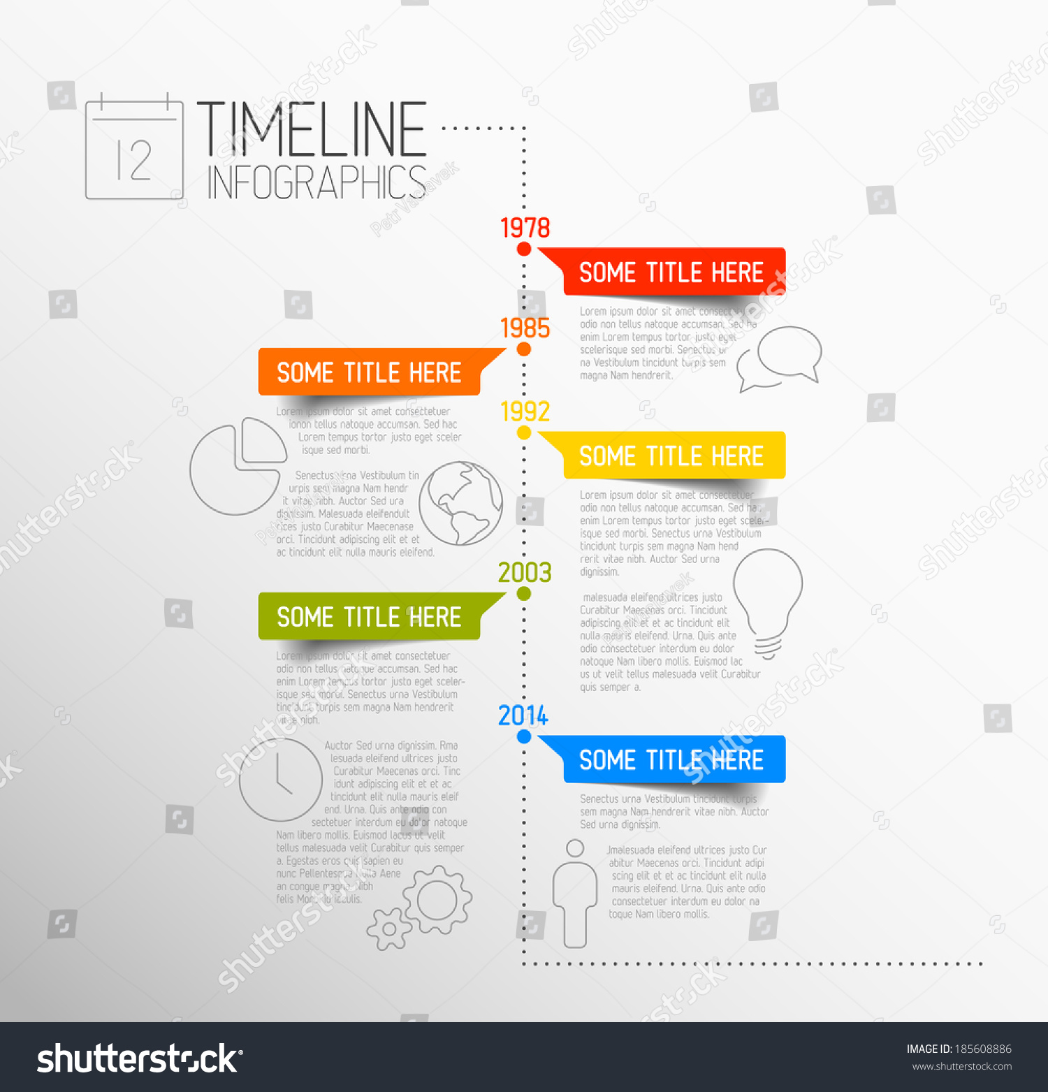 vector infographic timeline report template icons stock vector 185608886 shutterstock. Black Bedroom Furniture Sets. Home Design Ideas