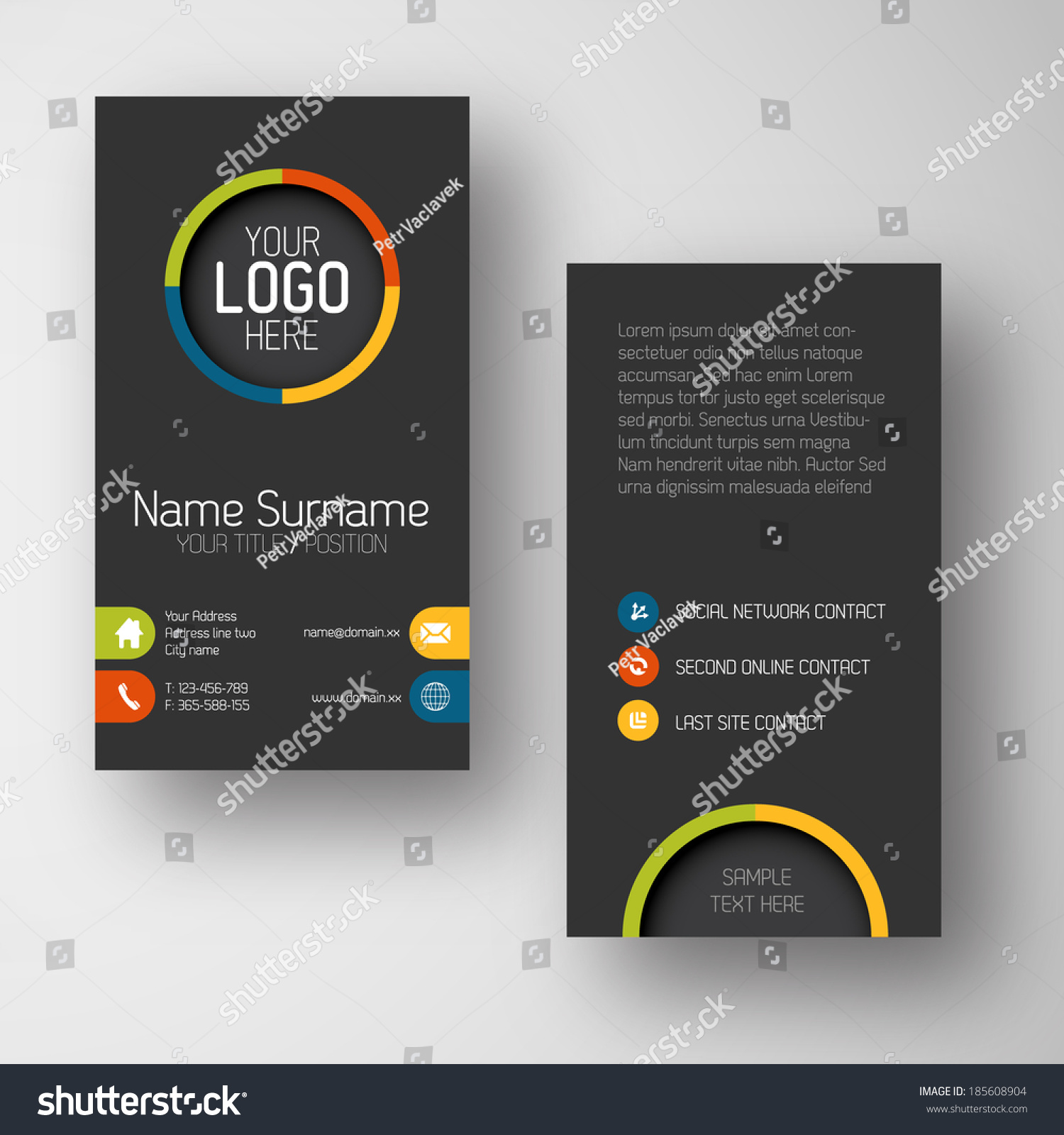 modern simple dark vertical business card stock vector 185608904 modern simple dark vertical business card template some placeholder