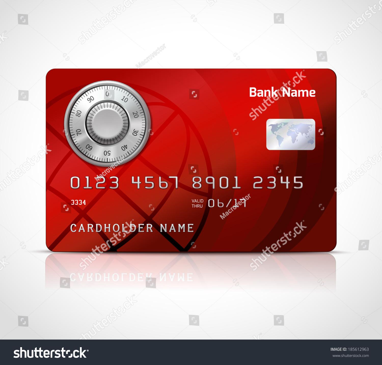 Realistic Credit Card Template Code Lock Stock Illustration ...