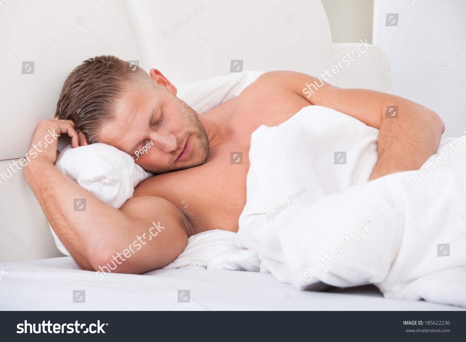 Man Sleeping Bed Propped Against Pillows Stock Photo Edit Now