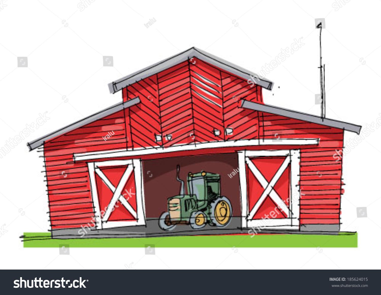 Traditional Barn Cartoon Stock Vector 185624015 Shutterstock