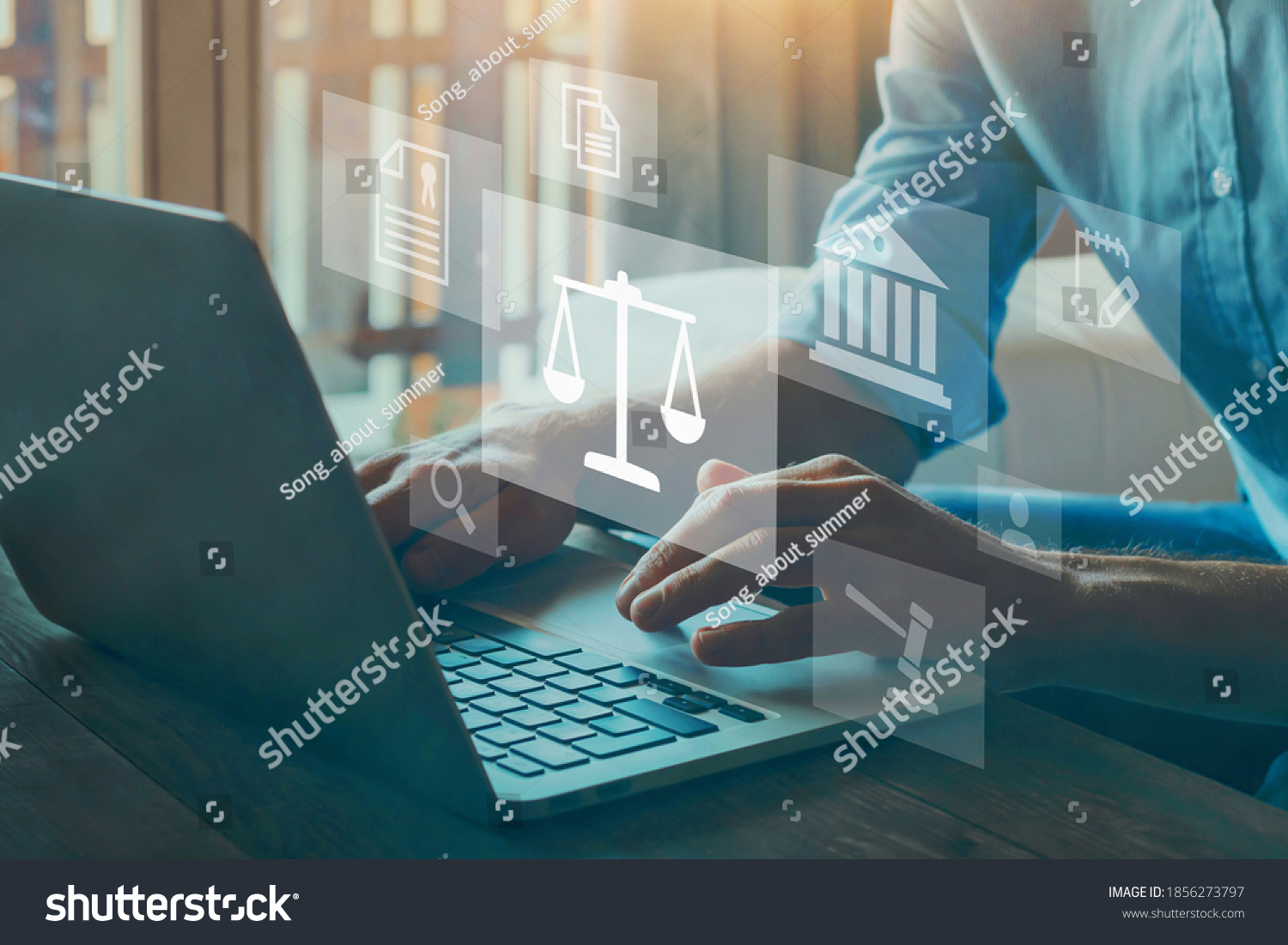 Legal advice online, labor law concept, layer or notary working for business company. #1856273797