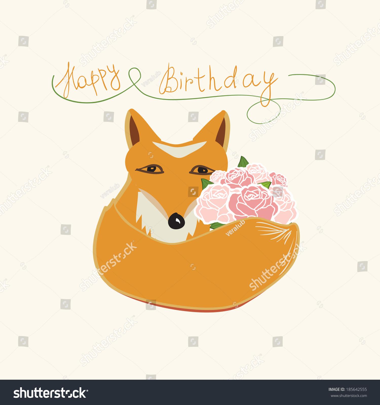 Happy Birthday Fox Greeting Card Design Stock Vector Royalty Free
