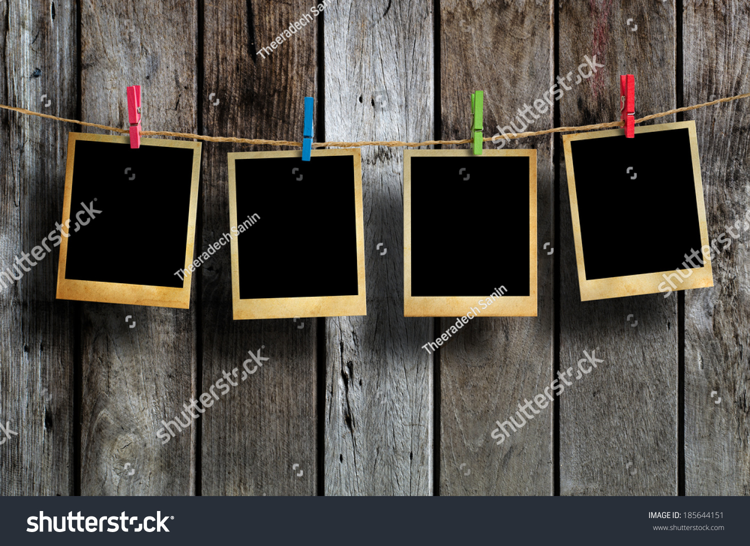 Old Picture Frame Hanging On Clothesline Stock Photo (Royalty Free ...