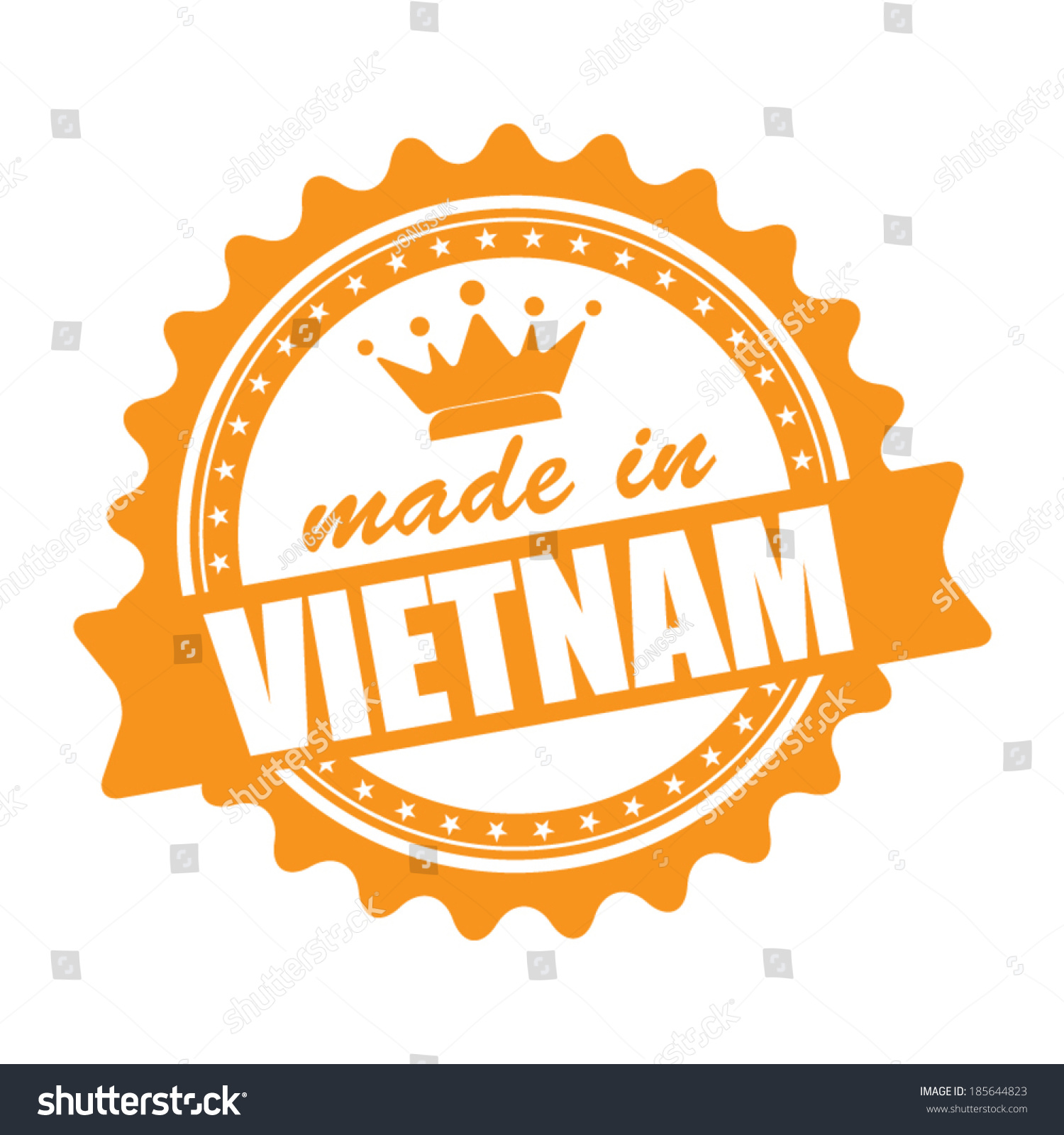 Made In VIETNAM Graphics Icon Label And Stamp With Crown Isolated On White Background