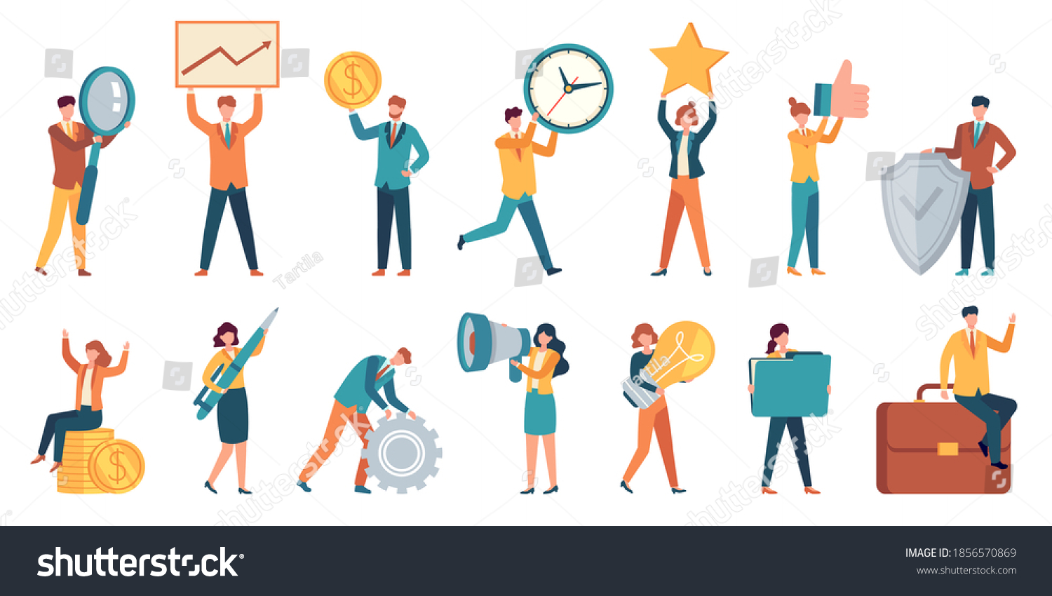 Tiny business people. Employee women and men with big money, light bulb, star, gear and magnifier. Office small work characters vector set. Illustration people success with money and star #1856570869