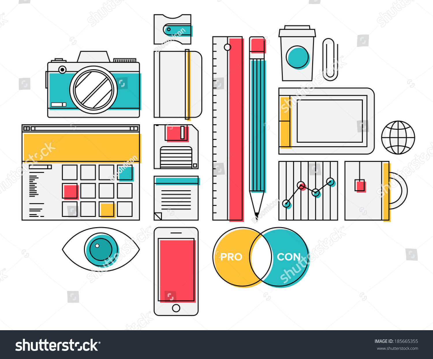 Trendy Office Supplies Design Thin Line Icons Modern Style Illustration Vector Set Of And Decor