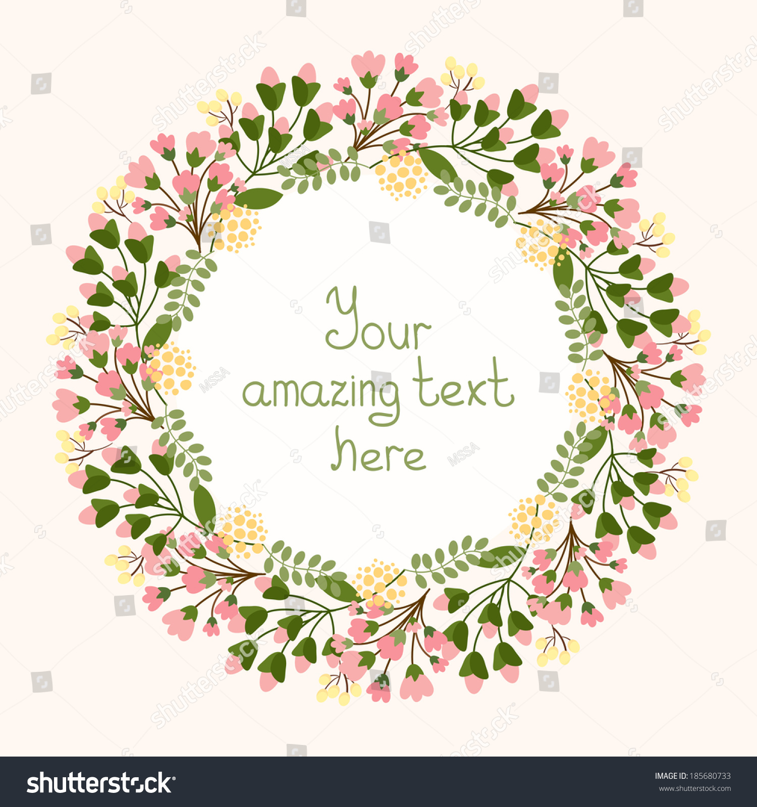 Greeting Card Design With A Circular Floral Wreath Of ...
