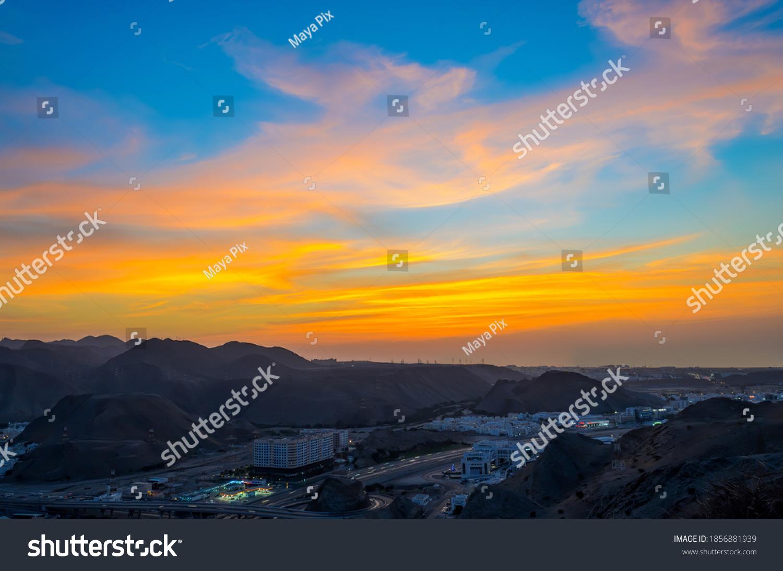 Orange & Blue Sky on a beautiful evening in Muscat, Oman.