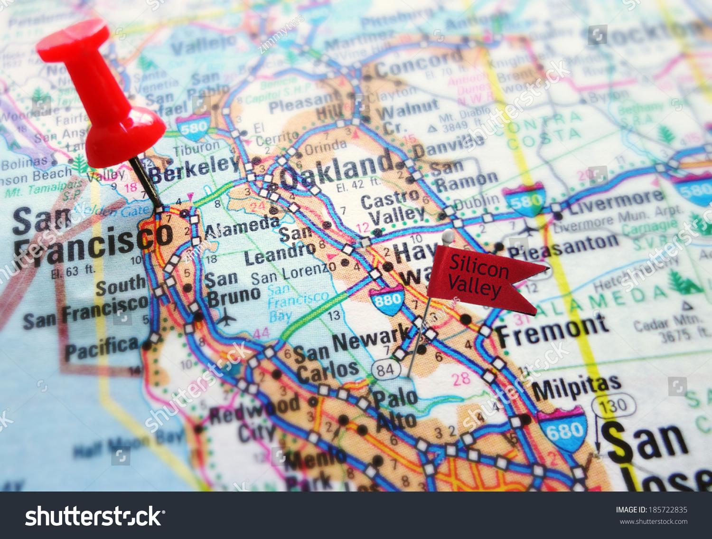 Kort Over Silicon Valley Sektion Af Lagerfotos Rediger Nu 185722835