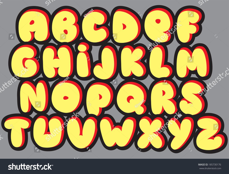 Graffiti font alphabet different letters vector illustration
