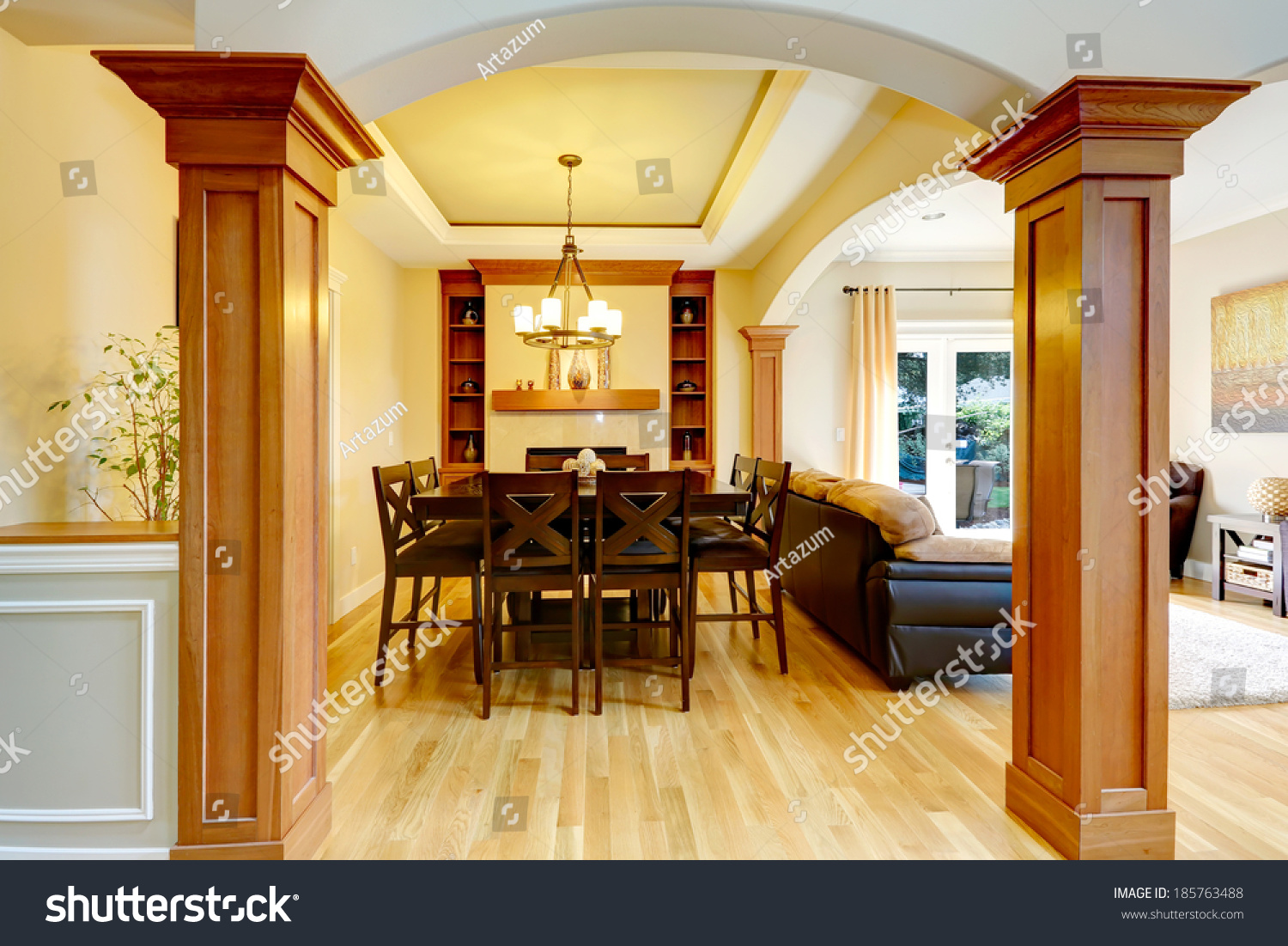 luxury dining room column arch view stock photo 185763488 luxury dining room with column arch view of classic dining table set