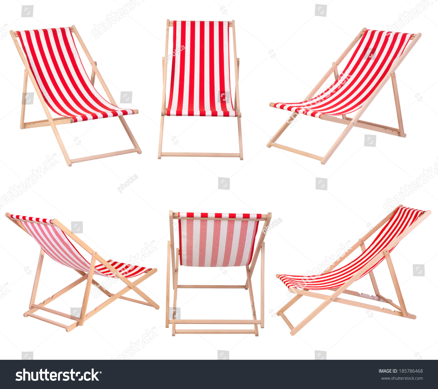 Beach Chairs Isolated On White Background Stock Photo