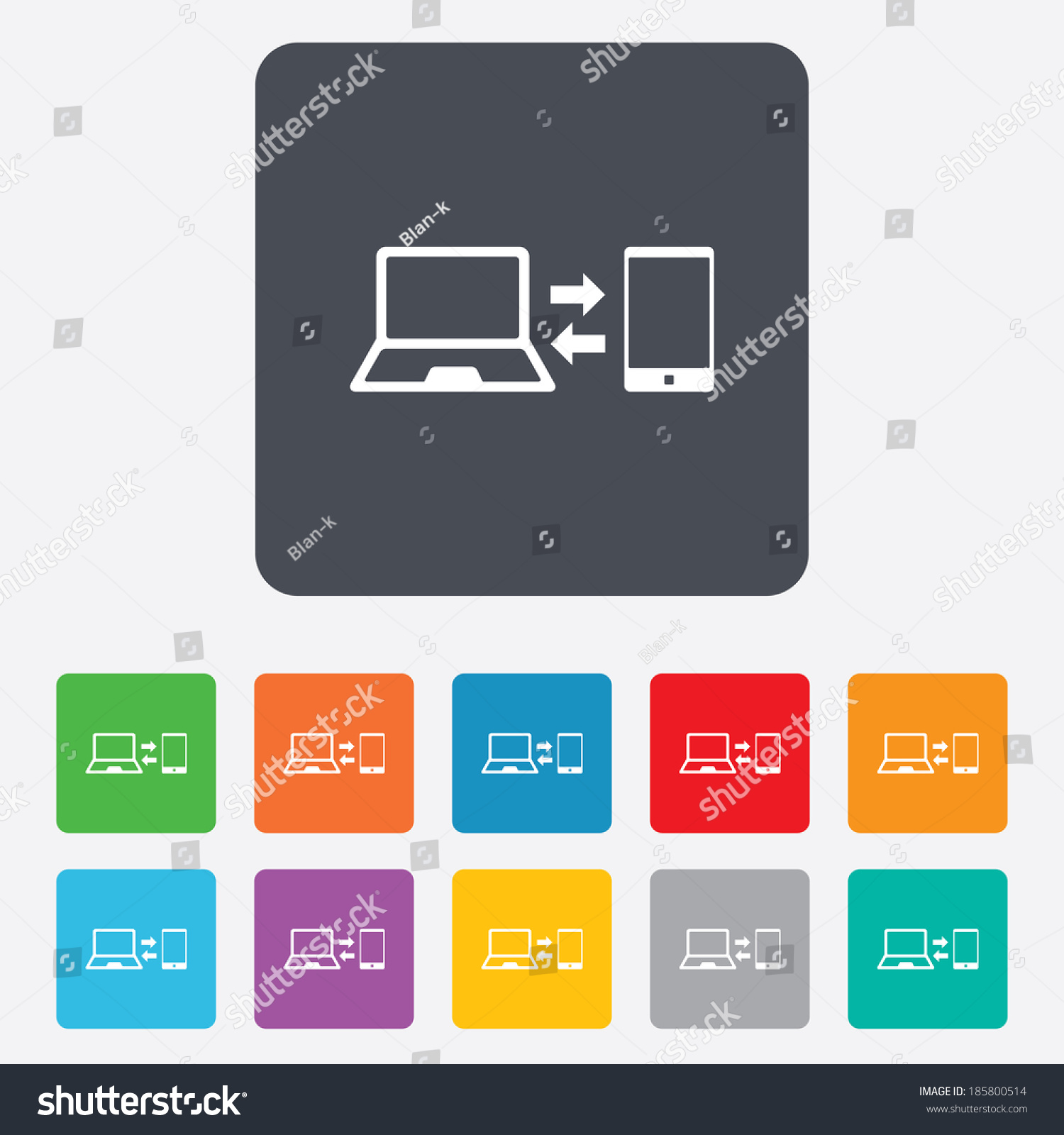 Synchronization sign icon notebook smartphone sync stock vector notebook with smartphone sync symbol data exchange rounded squares 11 biocorpaavc
