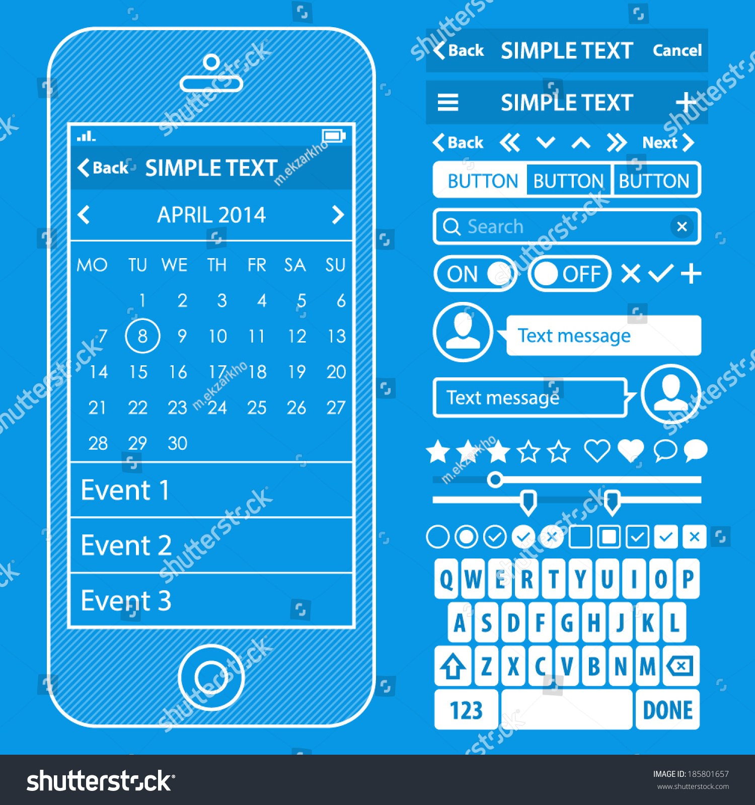 Ui elements blueprint design vector kit stock vector 185801657 ui elements blueprint design vector kit in trendy color with simple mobile phone buttons malvernweather Images