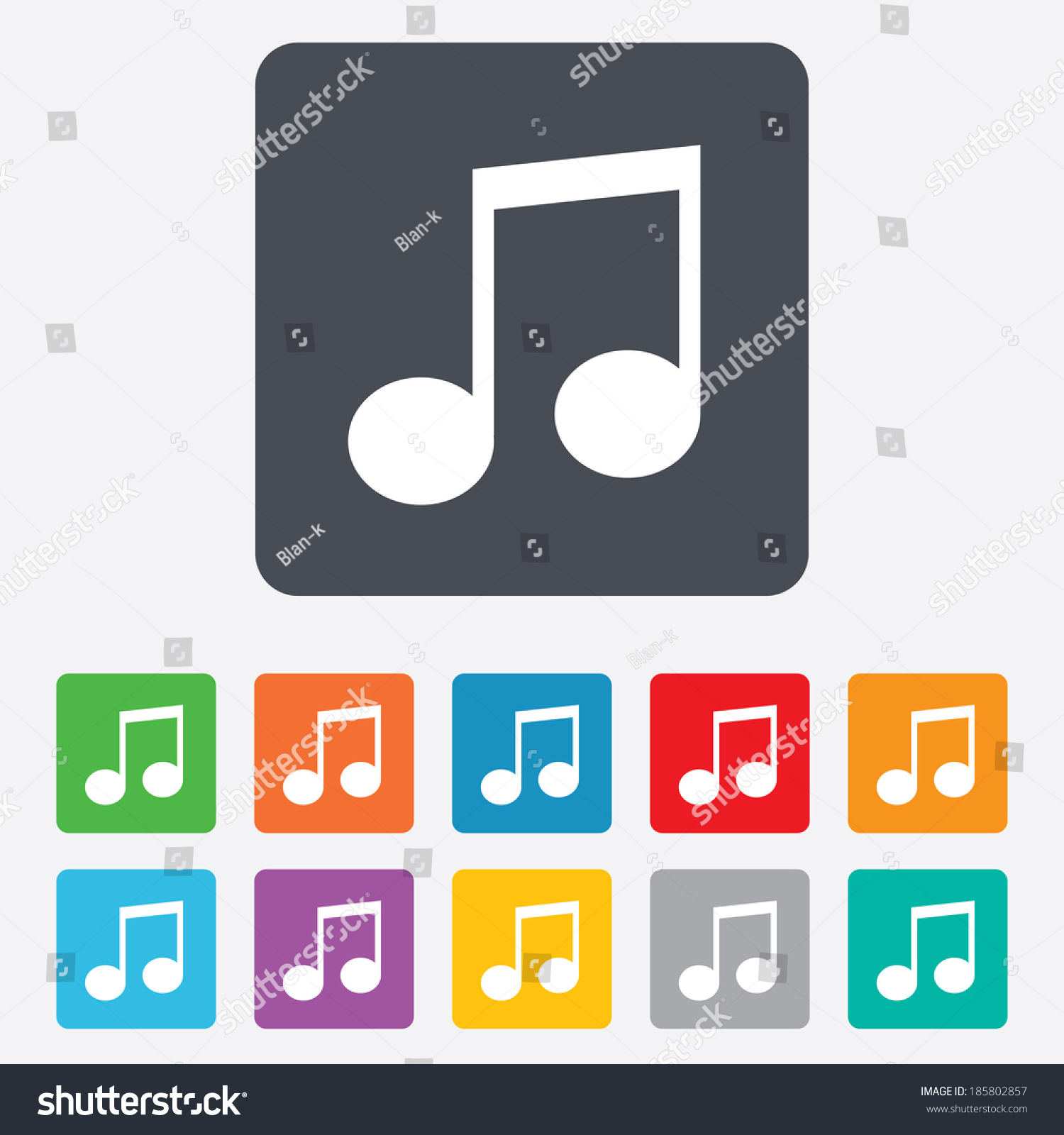 Music Note Sign Icon Musical Symbol Rounded Squares 11 Buttons