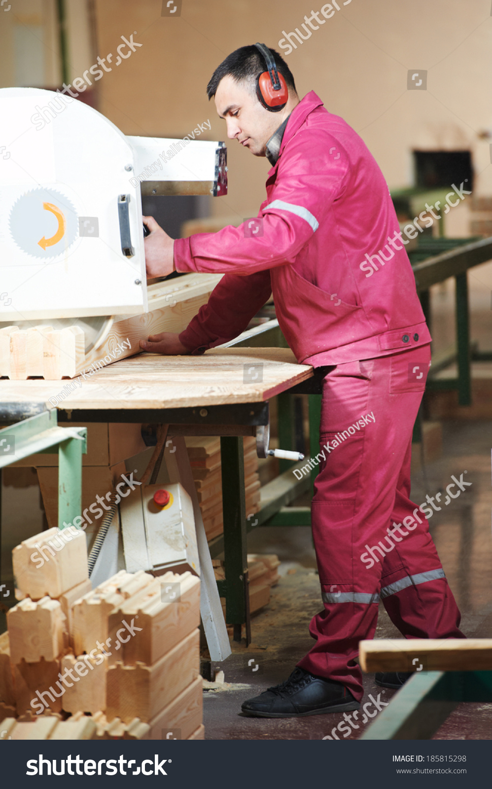 Carpenter Worker Circular Saw Machine Wood Stock Photo Edit Now