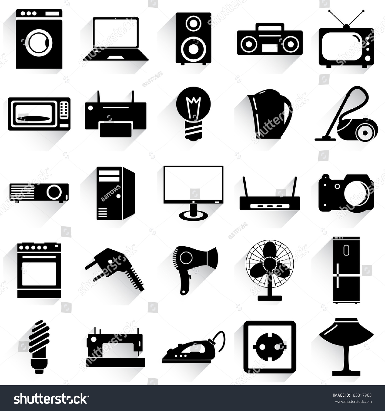 Collection Flat Icons Long Shadow Electrical Stock Vector 185817983