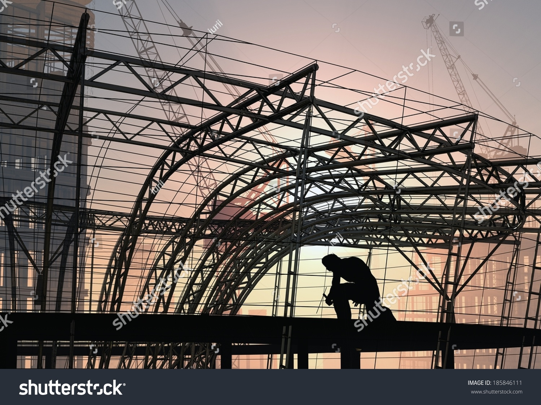 Silhouette Welder Building Structure Stock Illustration 185846111 ...