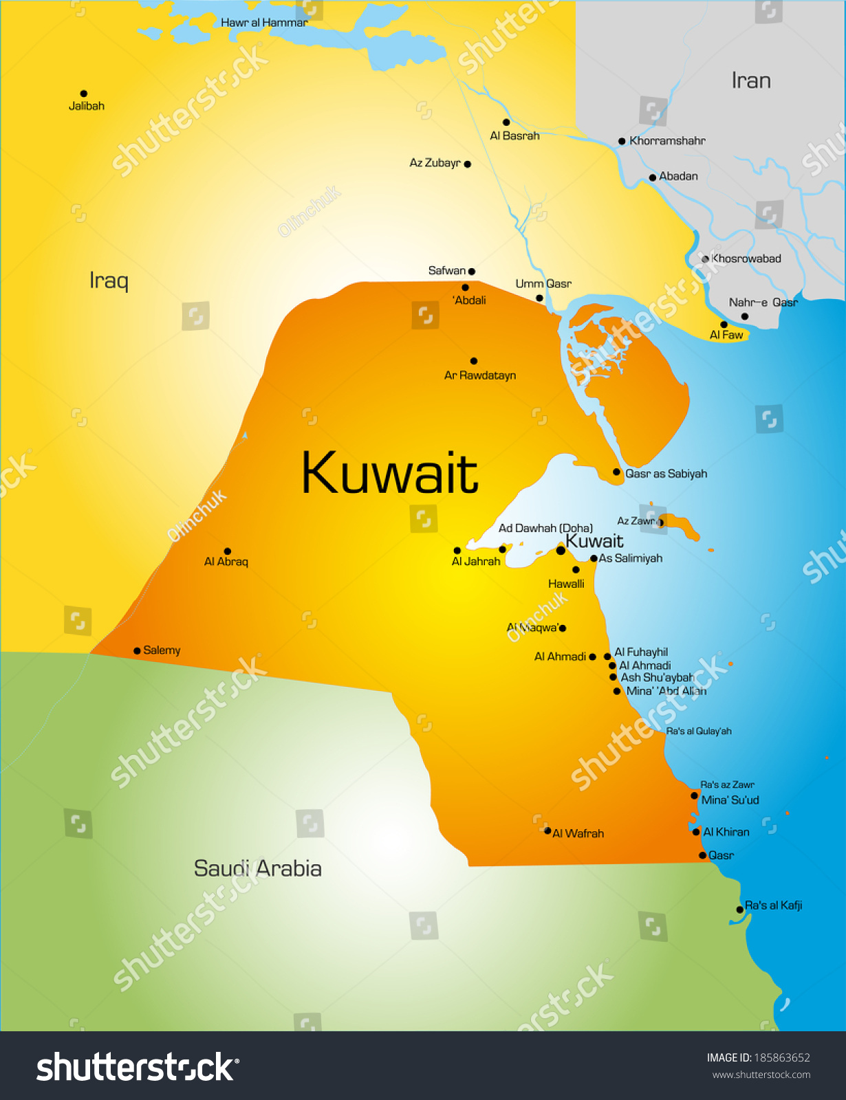 Detailed Vector Color Map Kuwait Country Stock Vector 185863652
