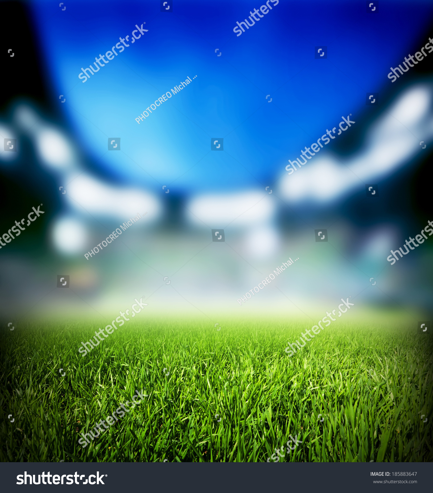 Football Stadium Night Lights: Football Soccer Match Grass Close Up Stock Photo 185883647