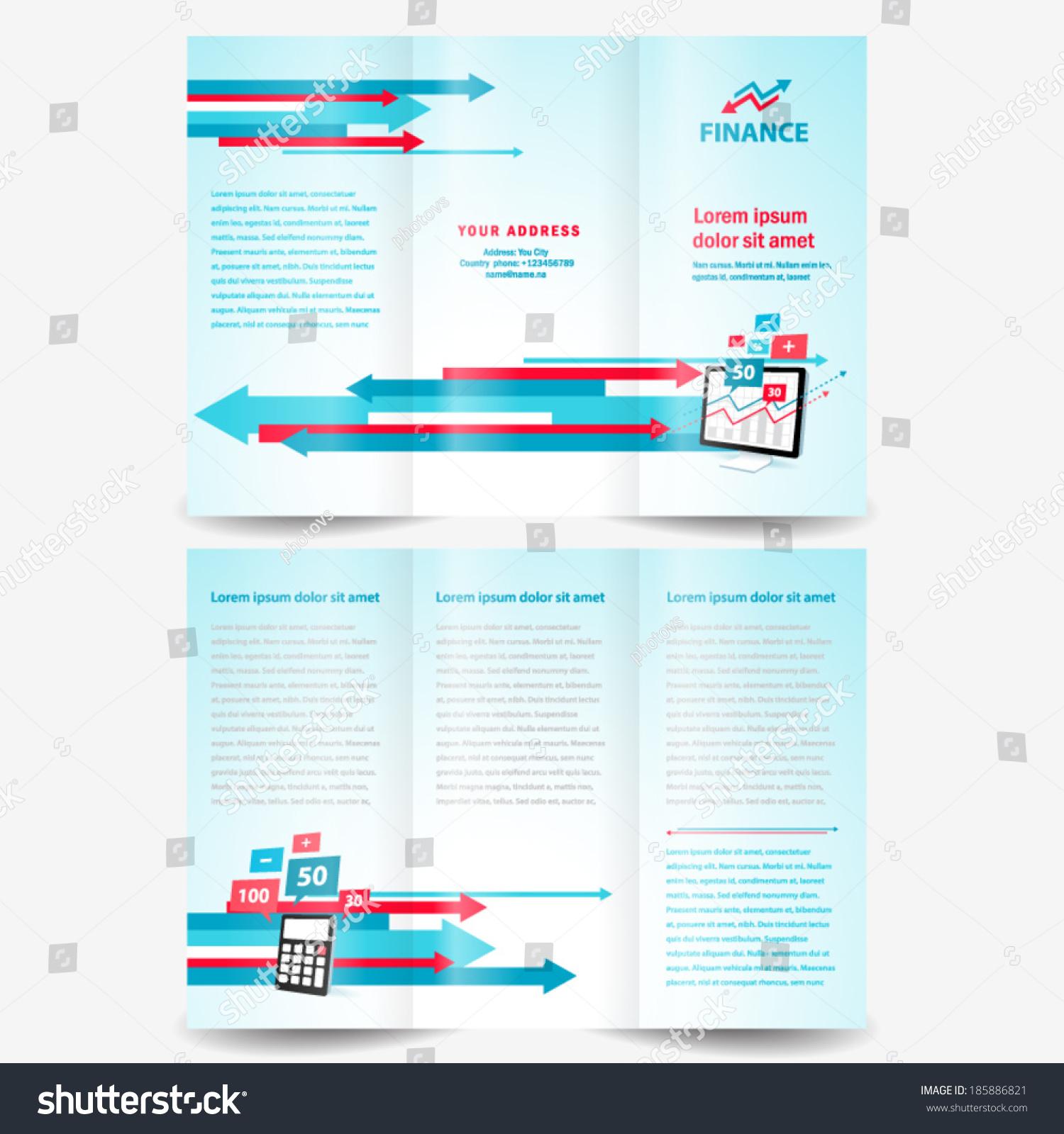 brochure design template finance arrow element stock vector royalty