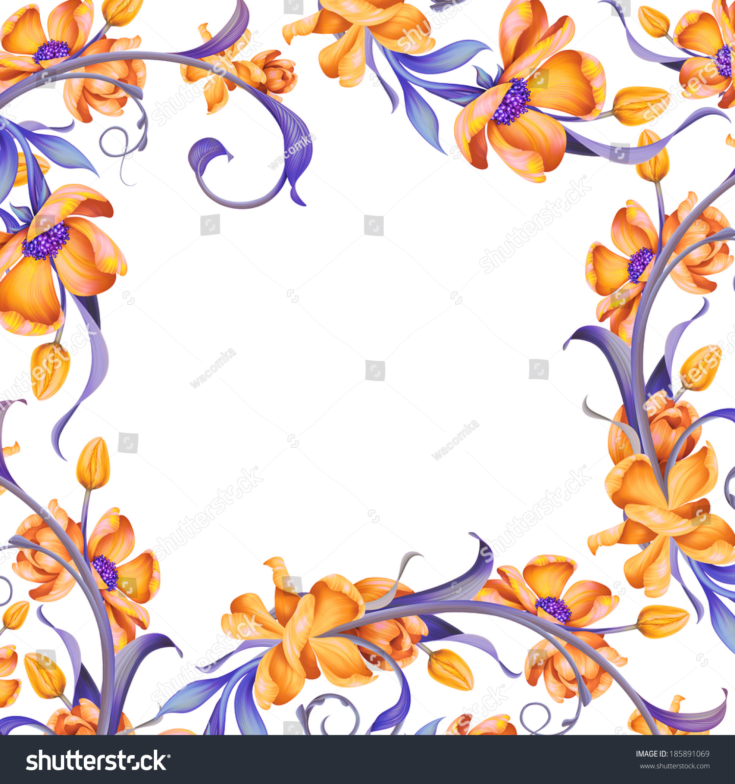 Decorative Black Flower Border Stock Image: Beautiful Floral Frame Decorative Page Border Stock