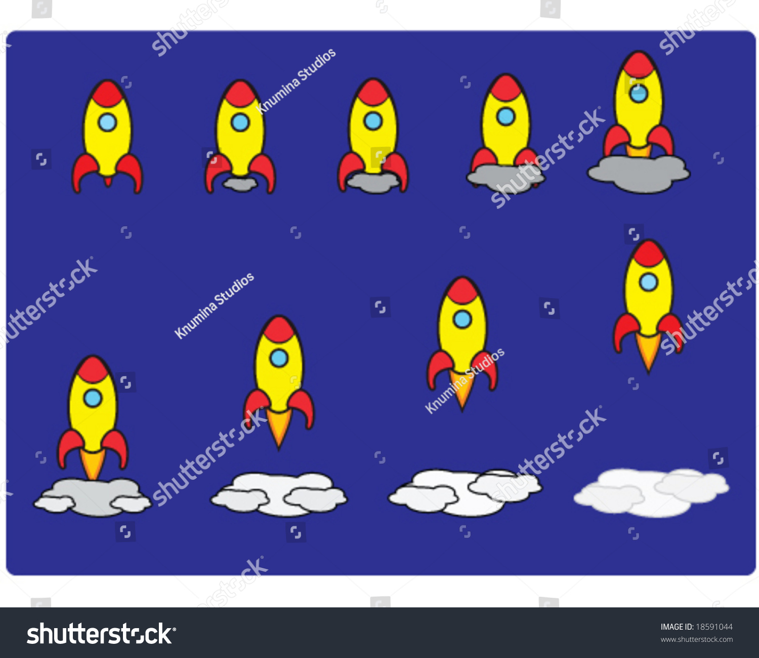 Vector Set Of Rocket Launching In 9 Steps, Good To Animate 18591044 :  Shutterstock Vector