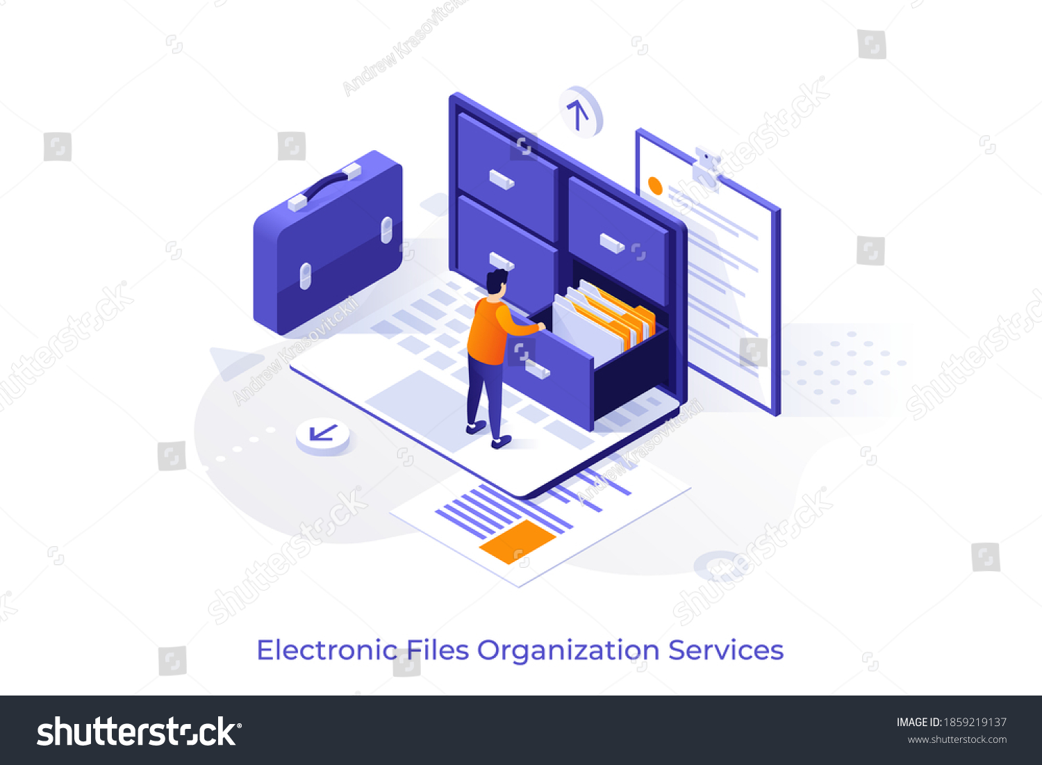 Conceptual template with man standing on laptop computer and opening drawer of storage cabinet full of documents. Scene for electronic file organization service. Isometric vector illustration. #1859219137